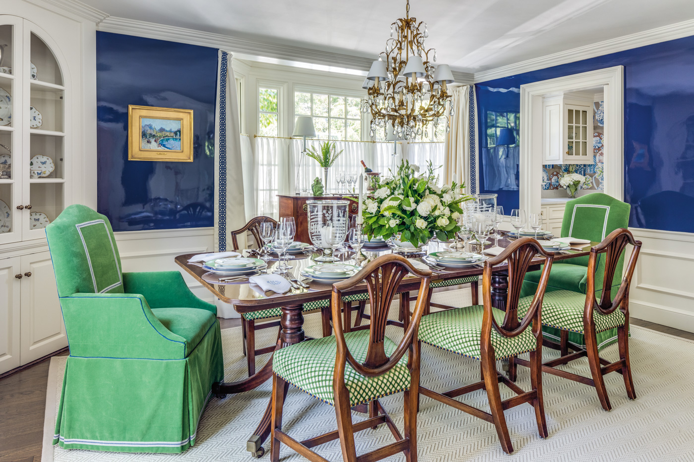 High-gloss dining room design for a high-end suburban Boston home