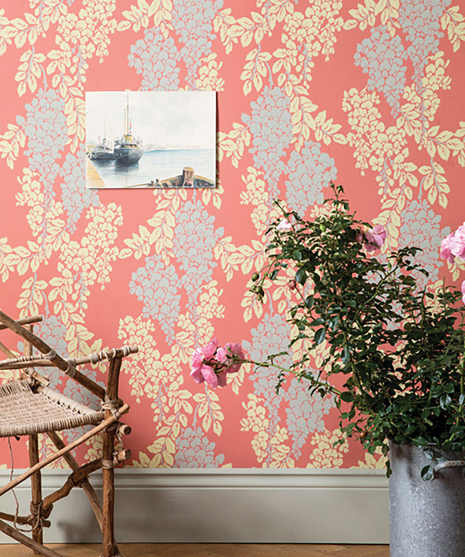 Wisteria coral wallpaper by Farrow & Ball