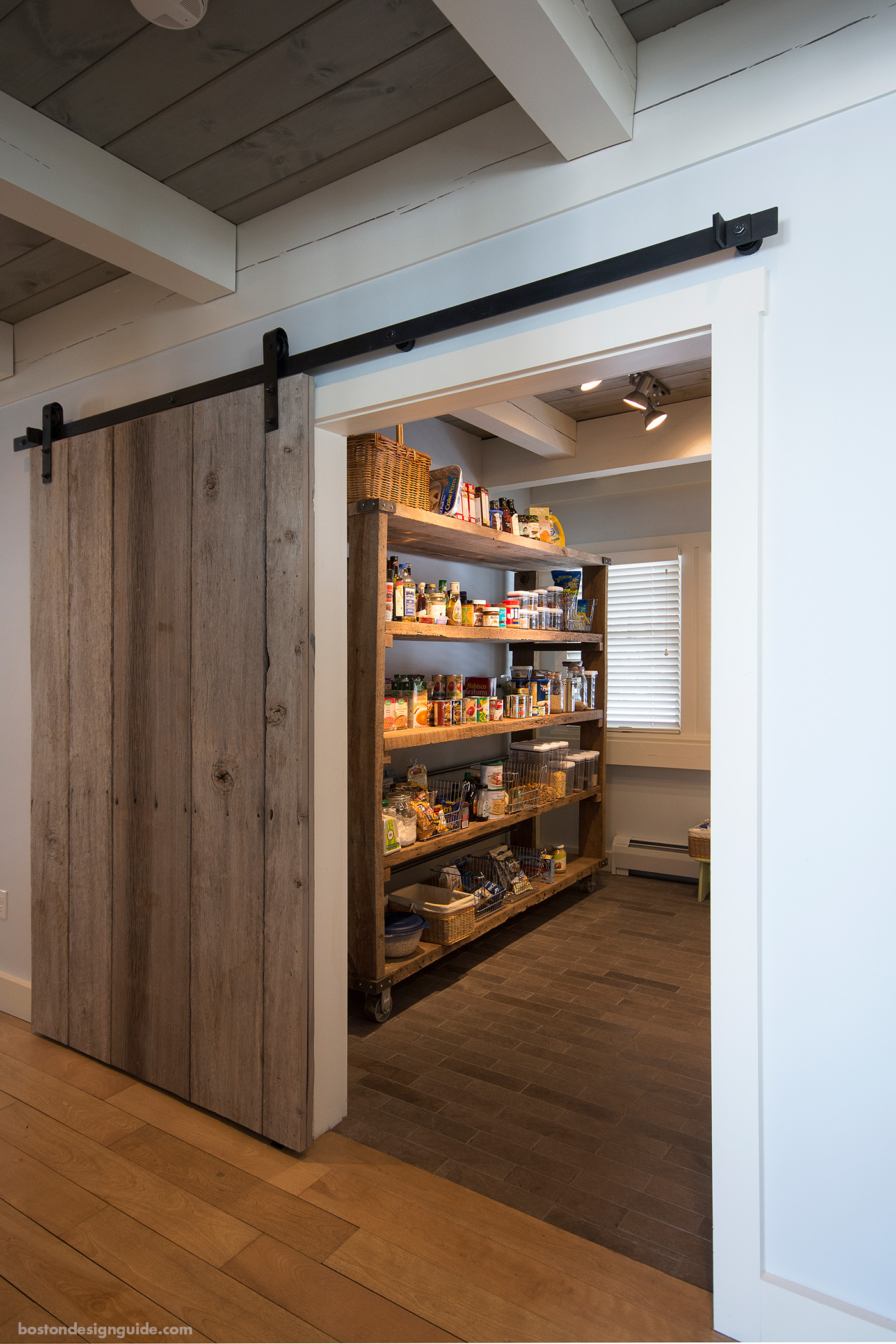 Reclaimed barn door pantry