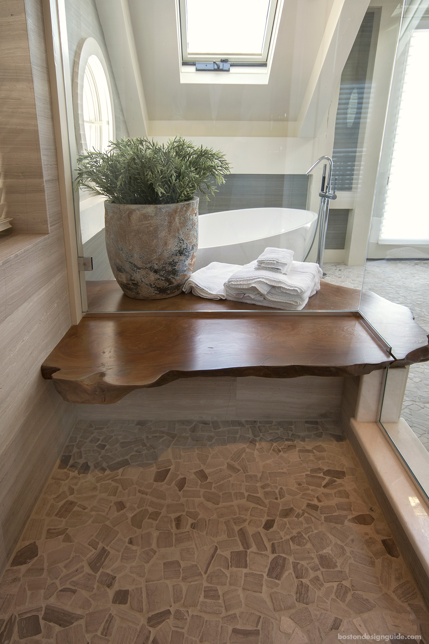 Redwood shower bench