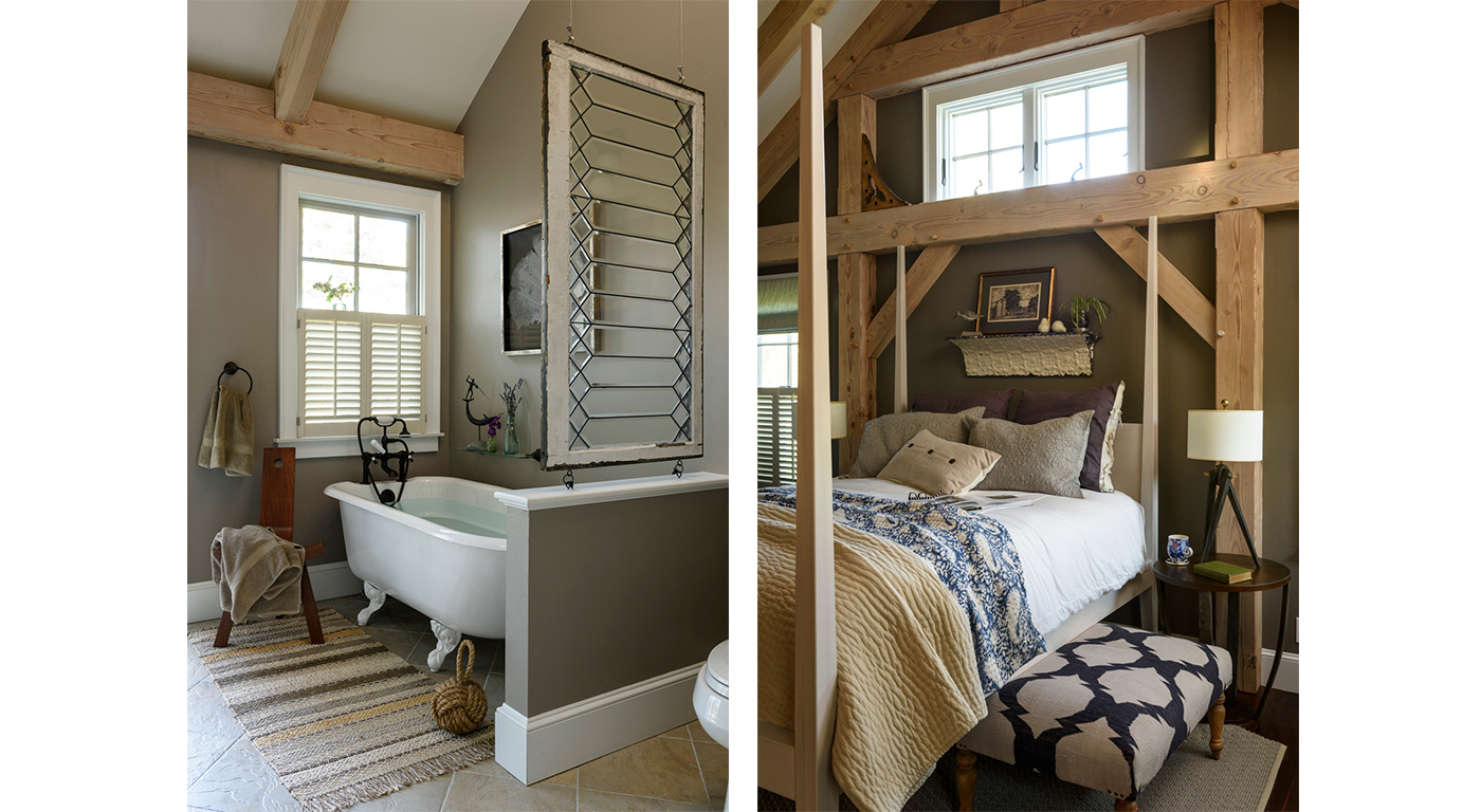 Transitional interior design for bath and bedroom by architectural designer Worth and Wing