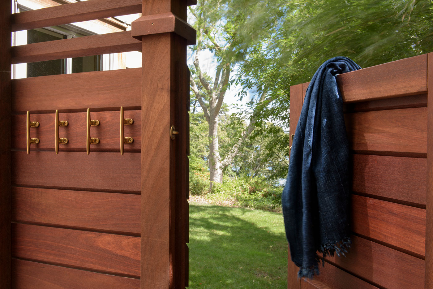Mahogany outdoor shower designed by Worth and Wing of Martha's Vineyard